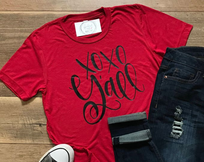Featured listing image: XOXO Y'all Valentine's Day Short Sleeved Shirt - XOXO Short Sleeve Tee - Southern Holiday Shirt -  XOXO Yall Triblend Short Sleeve Tee