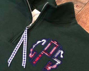 Flannel Scallop Circle Monogram 1/4 Zip Sweatshirt - Monogrammed Quarter Zip Pullover - Monogram Quarter Zip Sweatshirt Pullover - Flannels