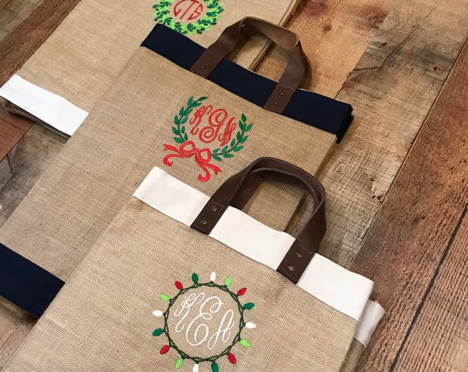Featured listing image: Holiday Monogram Burlap Market Tote - Monogrammed Jute & Leather Tote - Monogram Grocery Tote Bag - Monogrammed Gift Bag  - Christmas Gift
