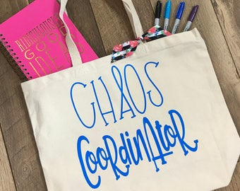Chaos Coordinator Large Canvas Tote Bag - Mom Life Shoulder Tote - Teacher Life Reusable Shopping Bag - Book Bag -  Gift Idea