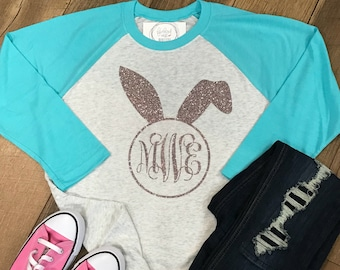Monogrammed Easter Bunny Ears Raglan Shirt - Monogram Easter Tshirt - Monogram Baseball Shirt - Easter Tee - Spring Shirt