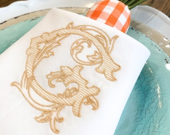 Monogrammed Linen Hemstitch Dinner Napkins- Personalized Linens - Monogrammed Table Linens - Linen Embroidered Napkins - Table Linens