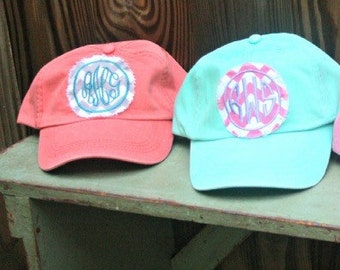 Monogram Hat - Monogrammed Hat - Custom Monogram Fabric Patch Hat - Bridesmaids Gift - Base Ball Hat - Monogram Patch Badeball Cap