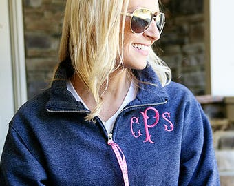 Monogram Quarter Zip Sweatshirt - Monogram 1/4 Zip Sweatshirt - Monogrammed Quarter Zip - Embroidered Quarter Zip Pullover  - Embroidery
