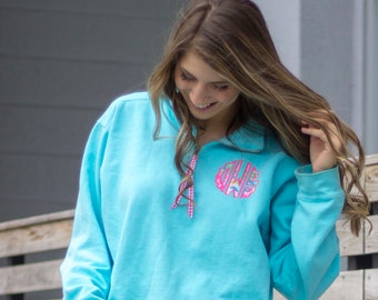 Comfort Colors Scallop Lilly Monogrammed Quarter Zip Sweatshirt - Lilly Monogram 1/4 Zip Sweatshirt - Lily Monogrammed Quarter Zip