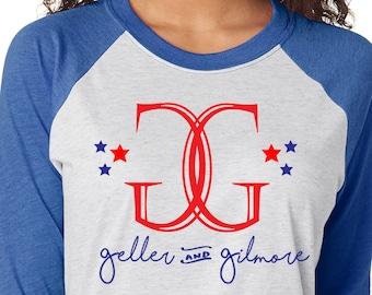 Gilmore Girls Inspired Raglan Shirt -Geller and Gilmore Election Raglan Tee  Political Party t-shirt - Southern Girls Collection Design