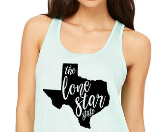 State of Texas Tank Top - Lone Star State Racer Back Tank - Graphic Women's Tank - The Lone Star State - Southern Girls State Collection