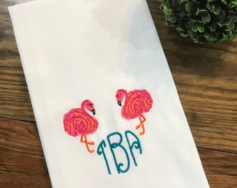 Flamingo Monogrammed Cotton Tea Towel - Custom White Cotton Accent Towel - Personalized Guest Towel - Chinoiserie Chic - Preppy Flamingos