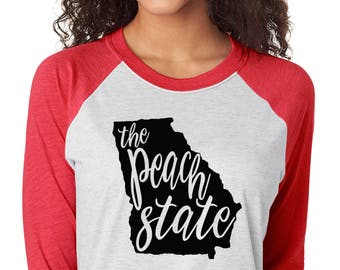 Peach State Georgia Raglan Shirt - State of Georgia Graphic Tee - Graphic Unisex Shirt - The Peach State TShirt - Southern Girls Collection