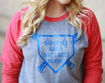 Diamonds are a Girl's Best Friend Baseball Raglan Shirt - Softball Tshirt - Graphic Baseball Shirt - Team Mom Shirt - Baseball Diamond Tee