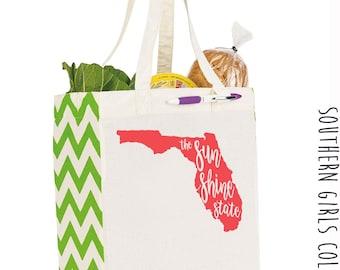 Florida Sunshine State Cotton Market Tote Bag - Canvas Farmers Market Tote - Reusable Bag -  Farmer's Market Bag - Grocery Bag - Book Bag