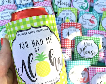 Aloha Can Cooler - Neoprene Can Holder - Bridesmaid Gift - Wedding Favor - Pineapple Koolie - Southern Girls Collection design