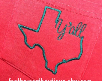 Custom State Y'all Pocket Tee Long Sleeved Comfort Colors Shirt - Choose your state, shirt and thread colors