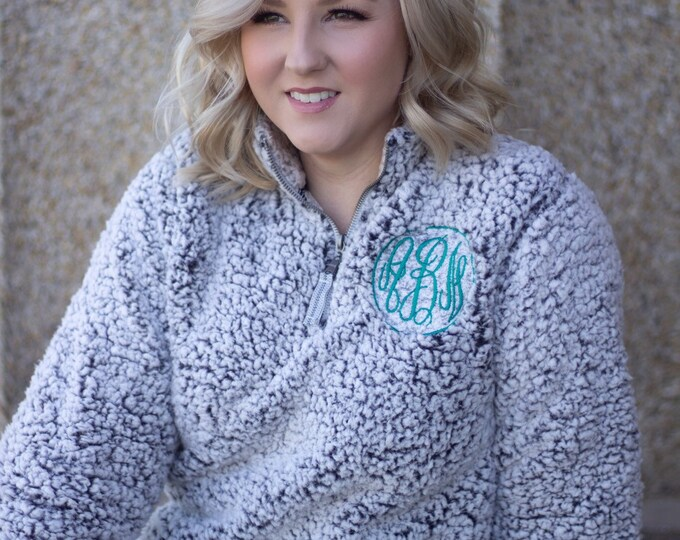 Featured listing image: Monogrammed Sherpa Quarter Zip Sweatshirt - Monogram 1/4 Zip Sweatshirt - Monogrammed Quarter Zip - Embroidered Quarter Zip Pullover
