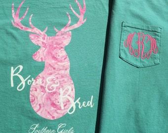 Born & Bred Shirt - Monogram Long Sleeve Shirt - Southern Shirt - Monogram Shirt - Born and Bred Monogram Shirt - Southern Girls Collection