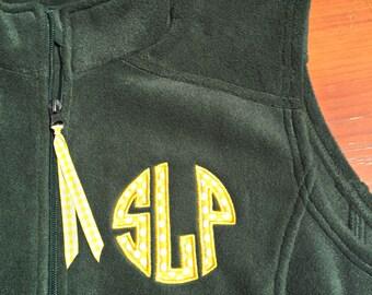 Ladies' Custom Classic Circle Monogrammed Fleece Vest - Monogram Fleece Vest - Game day Vest - Appliqued Circle Monogram Fleece Vest