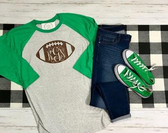 Monogrammed Football Raglan Shirt -Football Tee - Game Day Football T-shirt - Monogran Football Tshirt - Custom made