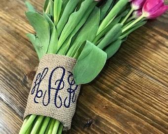 Monogram Bouquet Wrap - Monogrammed Bouquet Wrap - Monogram Burlap Bouquet - Southern Bouquet Wrap - Country Bouquet Wrap - Rustic Wrap