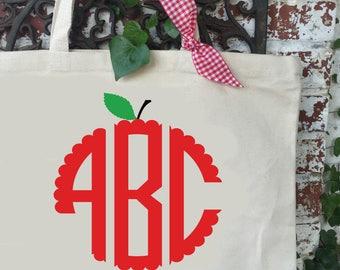 Apple Monogram Large Canvas Tote Bag - Teacher's Shoulder Tote - Teacher Reusable Shopping Bag - Book Bag - Teacher Gift Idea