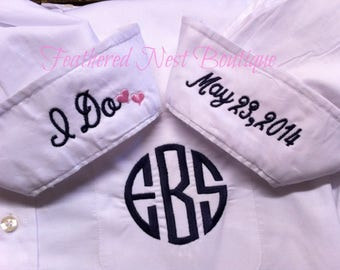 Add-on Embroidered Cuff Details to Monogrammed Bridesmaid Shirt - I do - wedding date - Mother of the Bride - Maid of Honor