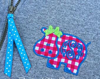 Monogram Critter 1/4 Zip Sweatshirt - Monogrammed Animal Design Quarter Zip Sweatshirt Pullover - Applique Monogram 1/4 Zip Sweatshirt