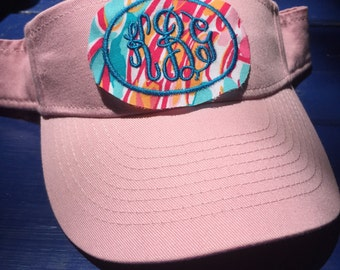Lilly Monogram Youth Visor - Lilly fabric Monogram Visor - Kid's Monogram Sun Visor - Monogrammed Visor - Lilly Monogrammed Visor