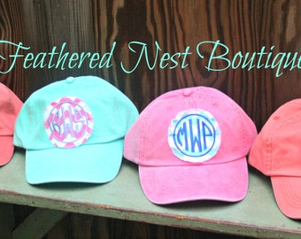 Monogram Baseball Cap - Monogrammed Hat - Custom Monogram Fabric Patch Hat - Bridesmaids Gift - Monogram Patch Hat - Bridesmaids