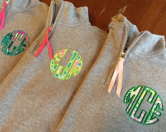 Lilly Classic Circle Monogrammed 1/4 Zip YOUTH SIZED Sweatshirt Pullover - Lilly Circle Monogram Quarter Zip - Lilly fabric Monogram Popover
