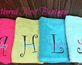 Monogram Towel with Name and Large Initial - Monogrammed Towel - Personalized Towel - Bridesmaid Gift - Bridesmaids Gift - Wedding Favor