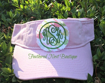 Youth Size Monogrammed Patch Visor - Choose your visor, fabric & thread colors - houndstooth - chevron - seersucker - anchor - monogram