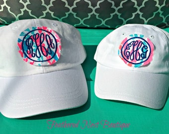 Monogram Youth Hat - Lilly fabric Monogram Baseball Cap - Girls Lilly Monogram Hat - Girls Lilly Monogrammed Hat - Monogrammed Baseball Hat