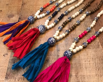 Handmade Sari Tassel Necklace - Blue and White Chinoiserie Bead Necklace - Your choice of Handmade Statement Necklace