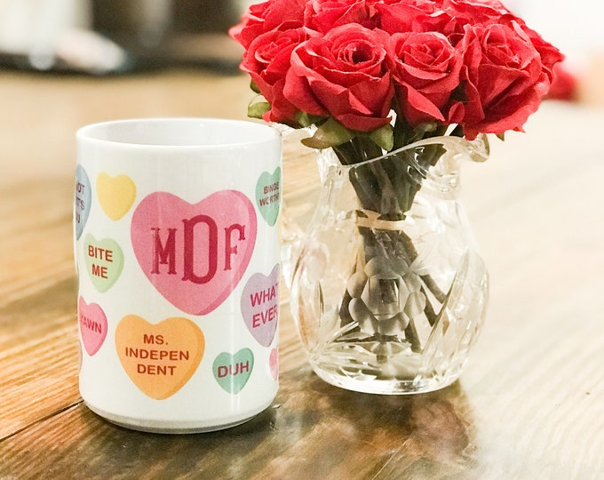 Featured listing image: Valentine's Day Monogrammed Mug - Conversation Hearts Monogrammed Coffee Cup  - Bridesmaids Gifts Idea - Valentines Day - Monogrammed Mug