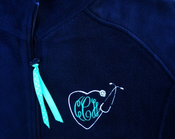 Custom Monogrammed Stethoscope Women's Fleece Full Zip Jacket - Personalize with your jacket and thread colors - Nursing , Nurse , Nurses