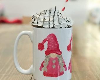 Gnomes Valentine Mug - Valentine's Coffee Cup - Gnome Heart Mug - Gnomies Valentine's Day Mug