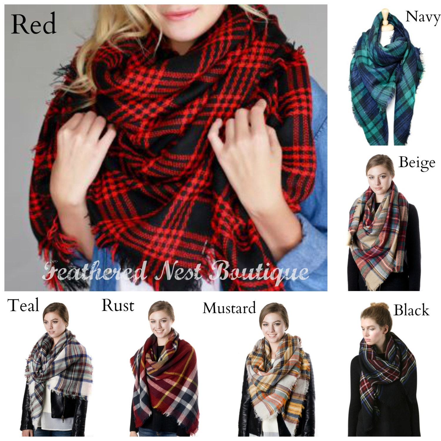 6e1b94f7eb883 Monogrammed Plaid Blanket Scarf - Monogram Plaid Blanket Scarf - 16 Monogram  Styles to Choose From - Christmas Gift Idea - Tailgate Scarf