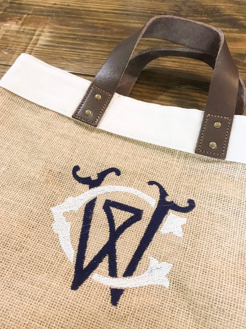 Couture Chic Monogram Burlap Market Tote Monogrammed Picnic Bag Market Tote Monogram Grocery Tote Bag Monogrammed Jute /& Leather Tote