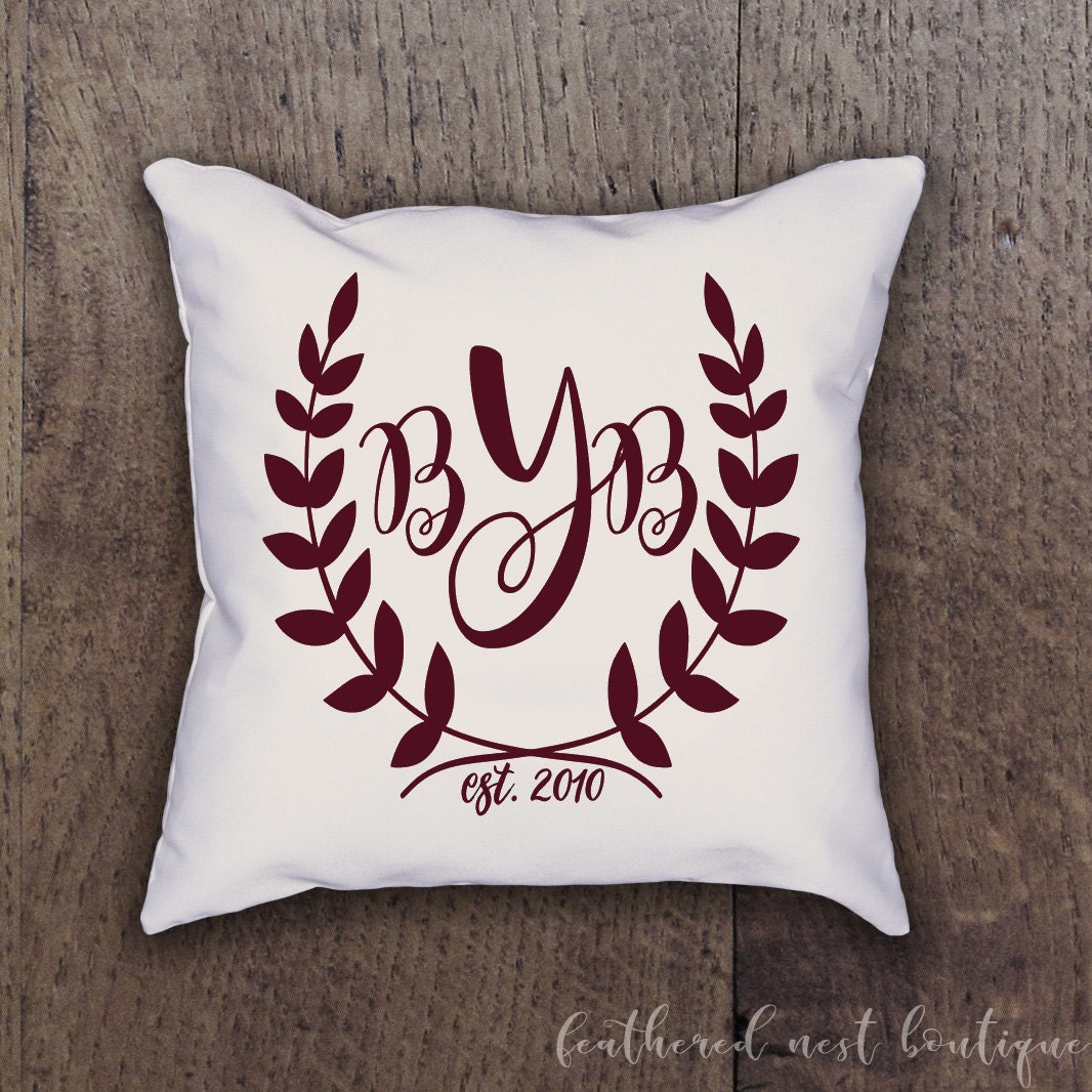 Monogrammed Pillow Cover Monogram Laurel Wreath Pillow Sham Custom Made Linen Pillow Cover Southern Girls Collection Design