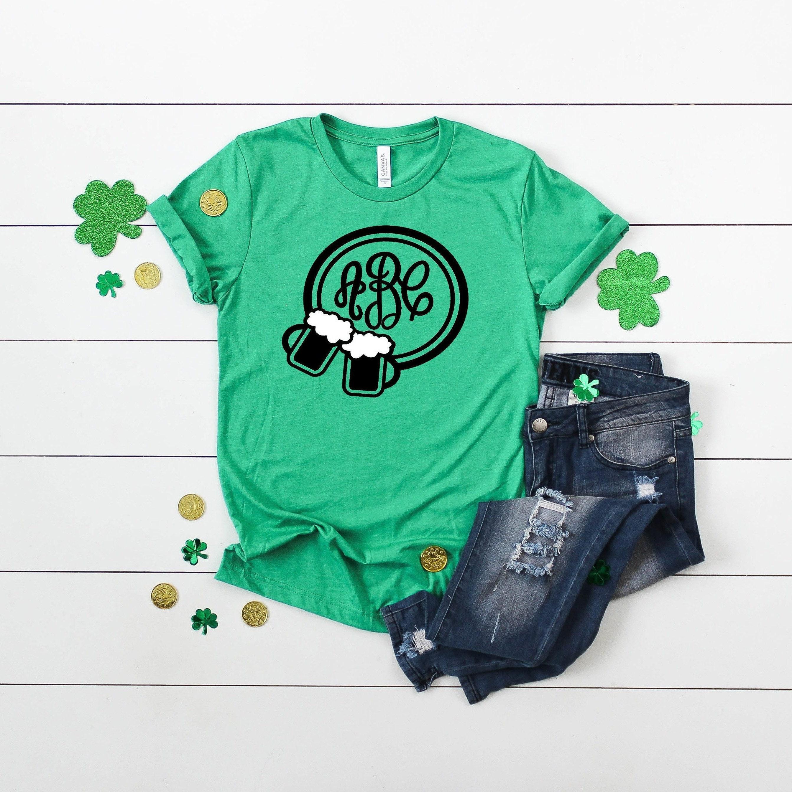 Monogram Cheers Beers St  Patrick's Day Short Sleeved Shirt