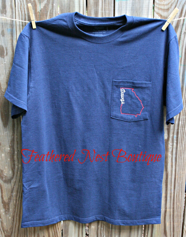 Dawgs Georgia Sate Line Design Pocket Tee Long Sleeve Comfort Colors