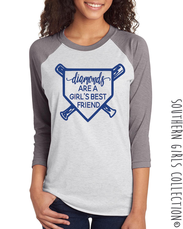 53c78b3843c Diamonds are a Girl s Best Friend Baseball Raglan Shirt - Softball ...
