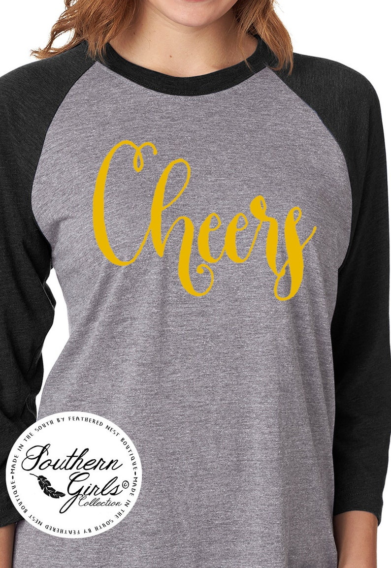 70a78e059e76c Cheers Raglan - New Years Eve Shirt - Cheers New Years Raglan Tee - Holiday  Design T-shirt - NYE Shirt - Southern Girls Collection Shirt