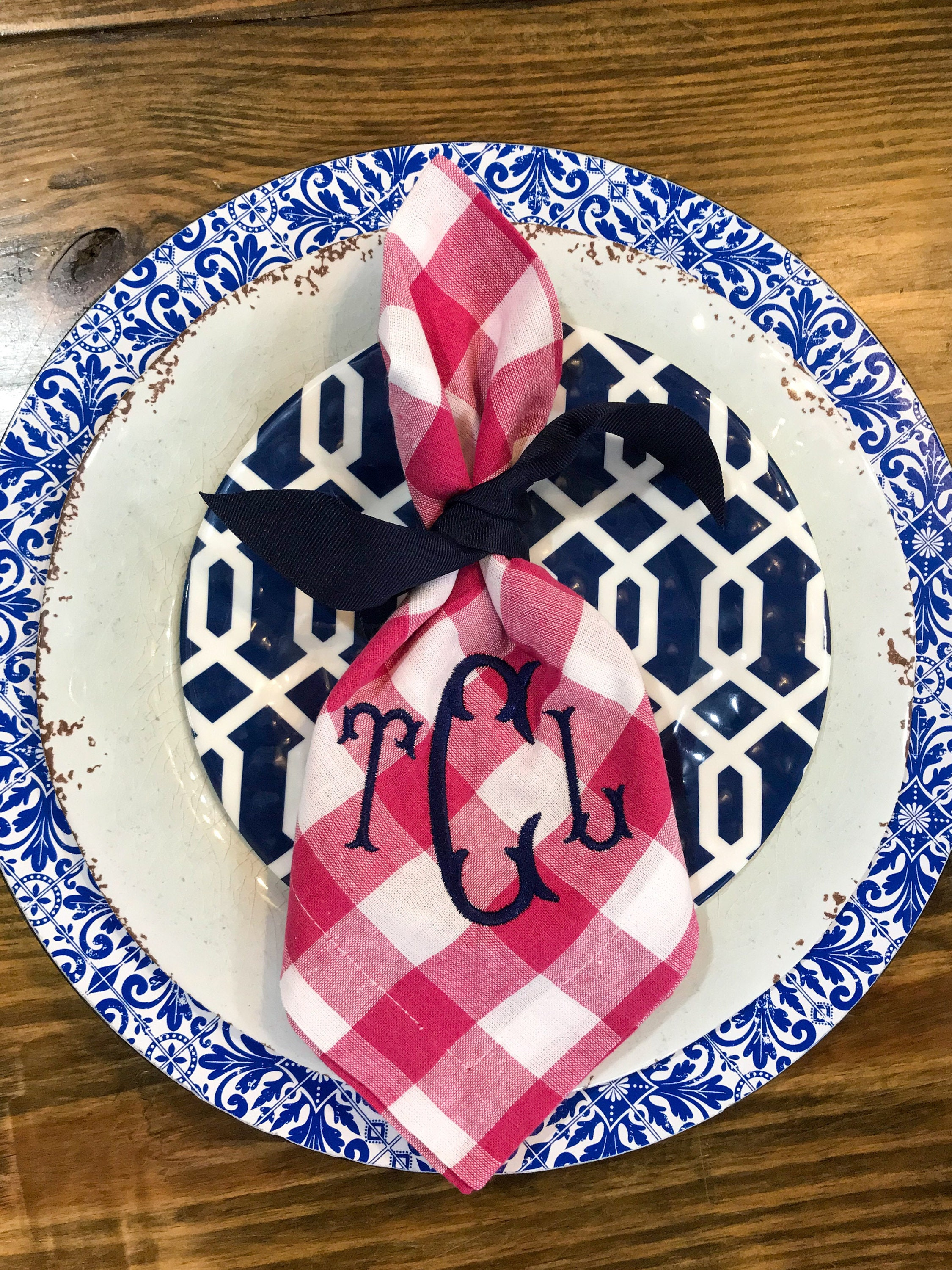 Monogrammed Gingham Napkins Personalized Linens Monogrammed Table Linens Cotton Embroidered Napkins Table Linens Monogram Napkins