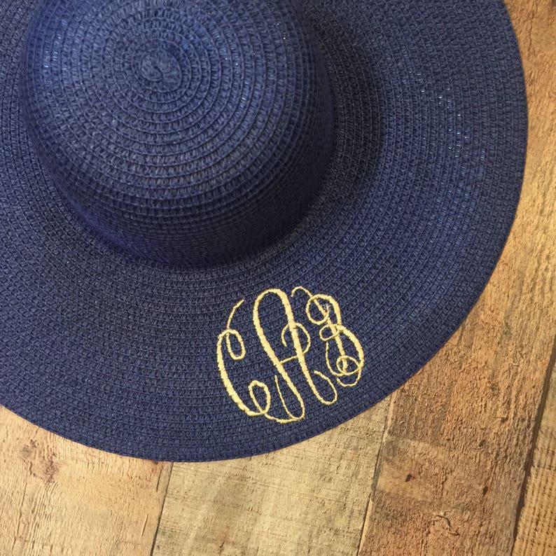 Custom Monogram Sunhat Personalized Floppy Hat Monogram Beach Hat Personalized Sun Hat Monogrammed Floppy Wide Brimmed Sun Hat