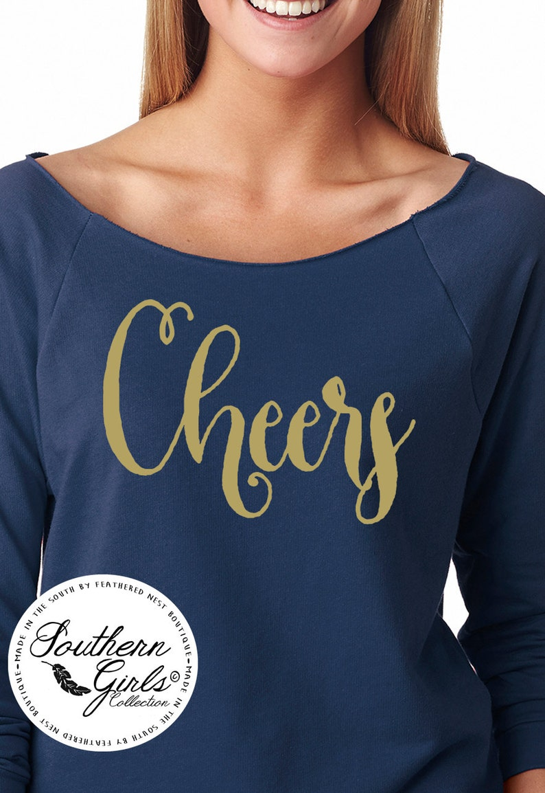 fd26111433d3a Cheers Holiday Shirt - Cheers NYE Off the Shoulder Tee - New Year's Eve  T-shirt - Cheers Calligraphy Top - Southern Girls Collection Shirt