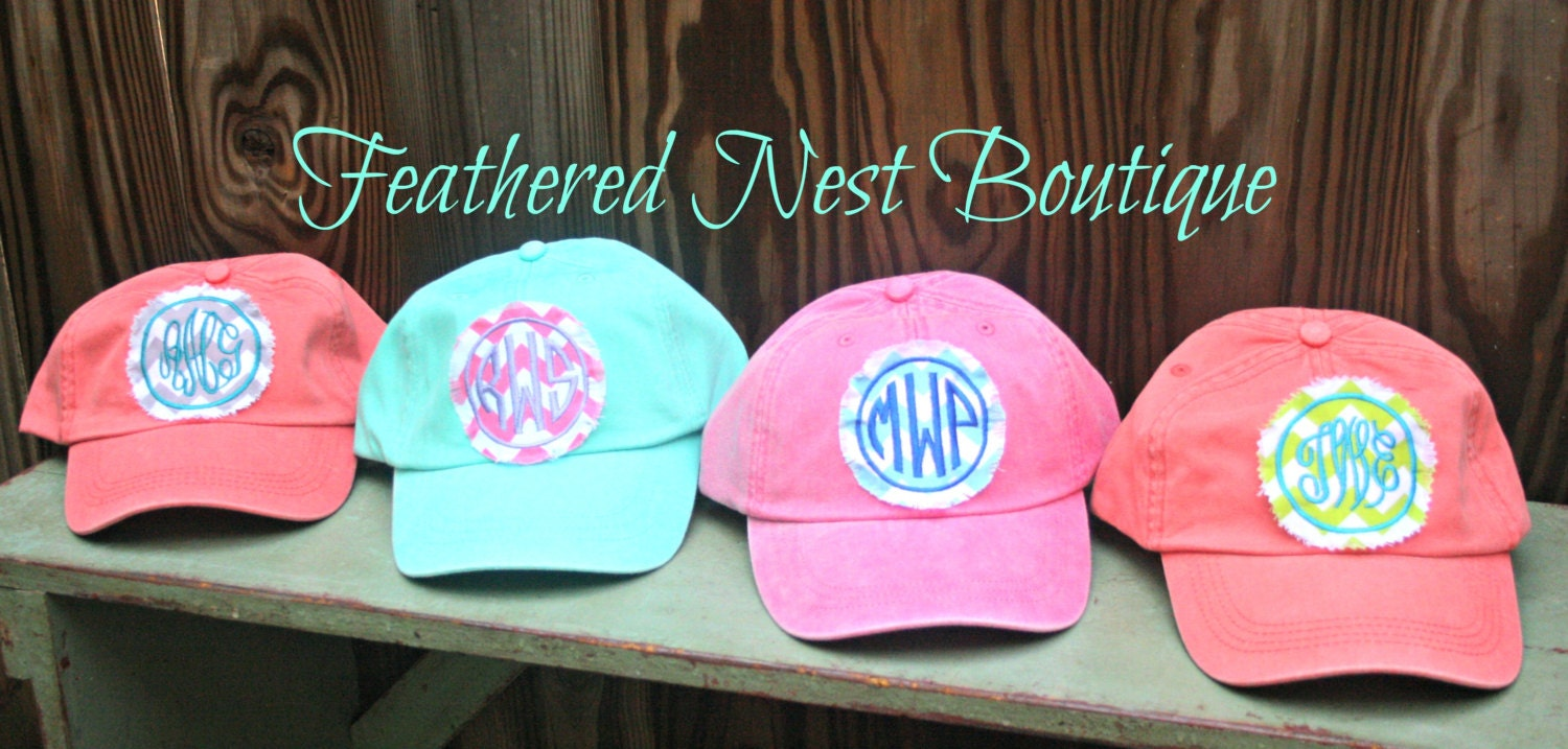 Monogram Baseball Cap - Monogrammed Hat - Custom Monogram Fabric ...