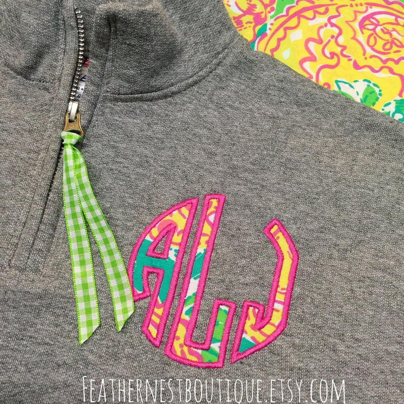 Lilly Classic Circle Monogrammed 14 Zip YOUTH SIZED Sweatshirt Pullover Lilly Circle Monogram Quarter Zip Lilly fabric Monogram Popover
