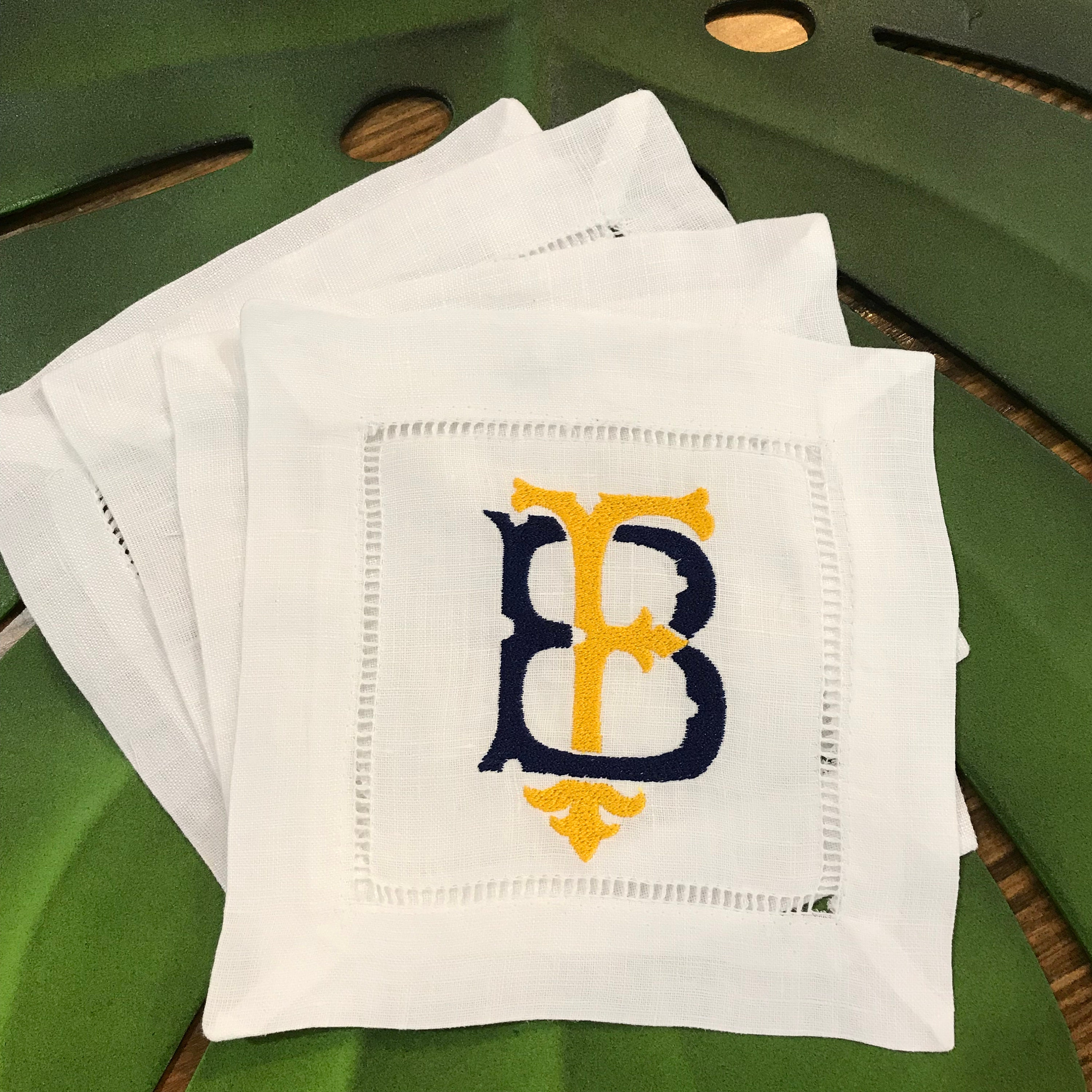 Couture Chic Two Letter Monogrammed Linen Cocktail Napkins Set Of Four Custom White Linen Cocktail Napkin Set Personalized Linen Napkins