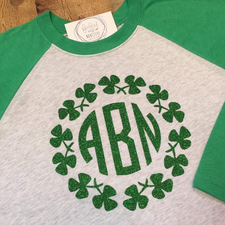 62de3ea2f Monogrammed St. Patrick's Day Raglan Shirt - Monogram St Paddy's Day  Shamrock Monogram Tshirt - Monogram Baseball Shirt - St Patricks Day