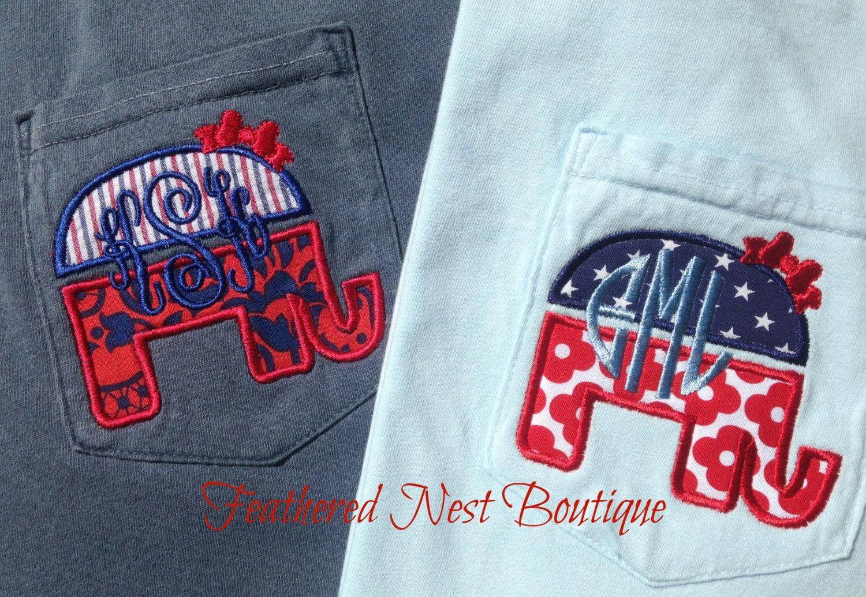 bc56d937 Monogram GOP Elephant Tee Short Sleeved Comfort Colors - Preppy ...
